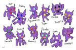 :o alternate_eye_color archived_source commentary creature english_text frown full_body gen_3_pokemon no_humans pokemon pokemon_(creature) sableye sharp_teeth signature simple_background sitting smile standing sucoshi symbol_commentary teeth walking white_background