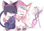2girls ^_^ animal_ears bangs black_hair blunt_bangs blush cat_busters cat_ears cat_tail closed_eyes closed_mouth commentary_request dress eyepatch furry hairband jewelry kirahoshi_(cat_busters) long_hair long_sleeves multiple_girls myaruru_(cat_busters) necklace open_mouth pink_dress pink_headwear pleated_skirt sailor_collar school_uniform scissors serafuku shoes short_hair short_sleeves simple_background skirt slit_pupils smile snout staff syuya tail violet_eyes white_background white_hair
