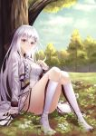 1girl absurdres bare_legs blush bow breasts dress forest girls_frontline hair_bow hand_on_breast highres iws-2000_(girls_frontline) kneehighs long_hair looking_at_viewer nature no_shoes prothymos red_eyes silver_hair sitting sitting_on_lap sitting_on_person socks solo thigh-highs thighs white_dress white_hair white_legwear