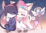 2girls ^_^ animal_ears bangs black_hair blunt_bangs blush cat_busters cat_ears cat_tail closed_eyes closed_mouth commentary_request dress eyepatch furry hairband heart jewelry kirahoshi_(cat_busters) long_hair long_sleeves multiple_girls myaruru_(cat_busters) necklace open_mouth parted_lips pink_dress pink_eyes pink_headwear pleated_skirt sailor_collar school_uniform scissors serafuku shoes short_hair short_sleeves simple_background skirt slit_pupils smile snout staff syuya tail thought_bubble violet_eyes white_background white_hair yuri