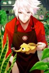 1boy apron bangs black_apron blue_eyes closed_mouth fate/apocrypha fate/extella fate/extra fate/extra_ccc fate/grand_order fate_(series) flower garden gloves hair_between_eyes highres hk_nemo holding karna_(fate) long_hair long_sleeves looking_at_viewer male_focus no_earrings pale_skin plant red_shirt shirt solo tree upper_body white_hair