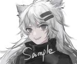 1girl :d absurdres animal_ears arknights bangs black_jacket chinese_commentary commentary_request eyebrows_visible_through_hair fangs grey_eyes hair_ornament hairclip high_collar highres jacket lappland_(arknights) long_hair looking_at_viewer open_mouth portrait sample silver_hair simple_background smile solo white_background wolf_ears yadandandan