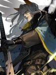 1boy arknights beard black_gloves facial_hair from_below gloves head_wings hellagur_(arknights) highres long_hair looking_at_viewer male_focus mustache nima_(niru54) solo sword upper_body weapon white_hair yellow_eyes