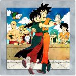 3girls 6+boys abs arena bald bangs beard black_eyes black_hair blonde_hair blue_eyes blue_footwear blue_hair blue_sky blunt_bangs boots border brick_wall bulma chaozu chi-chi_(dragon_ball) china_dress chinese_clothes clenched_teeth closed_mouth clouds cloudy_sky couple crack cracked_wall crossed_arms curly_hair dancing day dot_nose dougi dragon_ball dragon_ball_(classic) dress earrings elbow_rest expressionless facial_hair facial_scar fingernails floating_hair flying formal full_body glasses grey_border grin hand_on_another's_back hand_on_own_chin hands_on_hips happy hetero highres holding_hands jewelry kuririn looking_afar lunch_(dragon_ball) multiple_boys multiple_girls mustache muten_roushi necktie oolong outdoors outside_border ponytail puar red-framed_eyewear red_neckwear scar scar_on_cheek shirtless sidelocks sky sleeveless sleeveless_dress smile son_gokuu spiky_hair straight_hair suit sunglasses teeth tenshinhan third_eye toritoki_(trig_tkdb) upper_teeth wall wristband yamcha