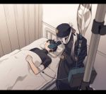 2boys asclepius_(fate/grand_order) bandages bandana bangs bed_sheet black_jacket black_shirt clinic curtains doctor fate/grand_order fate_(series) fujimaru_ritsuka_(male) gloves hair_between_eyes highres hospital injury jacket long_hair long_sleeves lying male_focus mask multiple_boys nrata_2 on_back on_bed shirt silver_hair simple_background sleeping temperature tied_hair tight upper_body