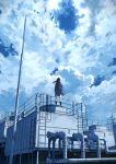 1girl anyotete bag bird clouds cloudy_sky highres long_hair original pipes school_bag skirt sky