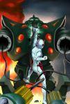 android battle bodysuit casshan_robot_hunter casshern fire gun helmet male_focus robot takemaru08 weapon white_bodysuit