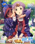 blush brown_eyes character_name dress idolmaster_million_live!_theater_days makabe_mizuki purple_hair short_hair spring