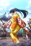 3boys architecture bangs beard black_hair blue_eyes blue_hair brown_hair dust dust_cloud east_asian_architecture facial_hair fighting_stance floral_print full_body green_ribbon hair_flowing_over hair_ornament holding holding_sword holding_weapon japanese_clothes katana kimono lipstick long_hair makeup multiple_boys muscle official_art okiku_(one_piece) one_piece otoko_no_ko red_ribbon ribbon rubble sandals sash scabbard sheath socks sword unsheathed weapon