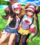 ! 2girls :o arm_behind_back bag bare_shoulders baseball_cap black_legwear black_vest blue_eyes blue_sky blush breasts brown_hair collarbone cowboy_shot denim denim_shorts dirt_road double_bun eyebrows_visible_through_hat grass hair_between_eyes handbag hat highres large_breasts logo long_hair long_sleeves looking_at_viewer mei_(pokemon) mokufuu multiple_girls open_mouth outdoors pantyhose pink_handbag pokemon pokemon_(game) pokemon_bw pokemon_bw2 ponytail river road shirt short_shorts shorts sidelocks sky sleeveless sleeveless_shirt small_breasts smile standing teeth torn_clothes torn_shorts touko_(pokemon) vest visor_cap water white_headwear white_shirt yellow_shorts