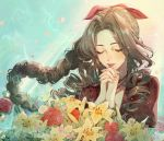 1girl absurdres aerith_gainsborough bangs bracelet braid braided_ponytail brown_hair closed_eyes commentary drill_hair eyelashes final_fantasy final_fantasy_vii floating_hair flower forehead hair_ribbon hands_clasped highres jacket jewelry lips lipstick long_hair makeup necklace own_hands_together parted_bangs parted_lips praying red_jacket red_ribbon ribbon short_sleeves side_drill simite smile solo twin_drills upper_body