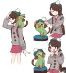 1girl :d ^_^ black_eyes brown_eyes brown_hair cardigan charamells closed_eyes commentary creature english_commentary flat_chest gen_8_pokemon green_headwear grookey monkey on_shoulder open_mouth pokemon pokemon_(creature) pokemon_(game) pokemon_on_shoulder pokemon_swsh short_hair smile starter_pokemon yuuri_(pokemon)