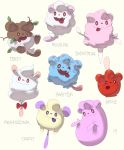 :3 :d ?? brown_eyes closed_mouth commentary creature english_commentary english_text fangs full_body gen_6_pokemon highres looking_at_viewer no_humans open_mouth pinkgermy pokemon pokemon_(creature) red_eyes ribbon simple_background smile swirlix tongue tongue_out violet_eyes white_background