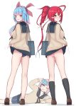 3girls alternate_costume aoba_(kantai_collection) ass bag bangs bare_legs black_legwear blue_hair blue_sailor_collar blue_skirt blurry blurry_background blush breasts brown_footwear cardigan cellphone commentary_request eyebrows_visible_through_hair fang from_behind full_body hair_ribbon highres i-168_(kantai_collection) i-19_(kantai_collection) kantai_collection kneehighs lifted_by_self long_hair long_sleeves looking_at_viewer looking_back multiple_girls one_eye_closed open_mouth panties phone pink_hair pink_panties ponytail red_eyes redhead ribbon sailor_collar school_bag school_swimsuit school_uniform serafuku shoes shoulder_bag simple_background skirt skirt_lift smile standing star star-shaped_pupils sweater swimsuit swimsuit_under_clothes symbol-shaped_pupils taking_picture tiemu_(man190) underwear white_background