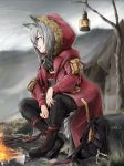 1girl :d animal_ears arknights bag bangs bare_tree black_footwear black_pants boots campfire clouds cloudy_sky commentary_request cross-laced_footwear eyebrows_visible_through_hair fire from_side fur-trimmed_jacket fur_trim highres hood hooded_jacket jacket lace-up_boots lantern long_sleeves open_mouth outdoors pants profile projekt_red_(arknights) red_jacket short_hair silver_hair sitting sky smile solo tail tree triangle_purasu wolf_ears wolf_tail yellow_eyes