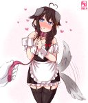 1girl afterimage ahoge alternate_costume animal_ears apron artist_logo black_hair black_legwear black_skirt blouse blue_eyes braid collar commentary_request cowboy_shot dated detached_sleeves dog_collar dog_ears dog_tail enmaided frilled_apron frilled_blouse frilled_skirt frills garter_straps hair_flaps hair_ornament hair_over_shoulder heart heart-shaped_pupils heart_ahoge highres kanon_(kurogane_knights) kantai_collection leash looking_at_viewer maid remodel_(kantai_collection) shigure_(kantai_collection) simple_background single_braid skirt solo symbol-shaped_pupils tail tail_wagging thigh-highs waist_apron white_apron white_background white_blouse