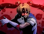 1boy aiming_at_viewer alucard_(hellsing) bangs bishoujo_senshi_sailor_moon blonde_hair blood blood_splatter blue_sailor_collar cosplay crescent crescent_earrings diadem djny earrings extra_eyes extra_mouth extra_teeth fangs glint gloves grin gun hellsing highres holding holding_gun holding_weapon horror_(theme) jewelry long_hair male_focus moon parted_bangs pince-nez pose red-tinted_eyewear red_background red_eyes red_moon sailor_collar sailor_moon sailor_moon_(cosplay) sailor_moon_redraw_challenge sanpaku shirt short_sleeves smile solo twintails weapon white_gloves white_shirt