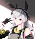 1girl absurdres arknights bare_shoulders black_gloves dd_(897671246) detached_sleeves dress gloves grey_dress hair_ornament hairband hand_up highres long_hair long_sleeves looking_at_viewer parted_lips red_eyes shade silver_hair smile solo upper_body v weedy_(arknights) wristband
