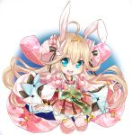 1girl ahoge animal_ears aqua_eyes bare_shoulders bell blonde_hair bunny_hair_ornament clothing_request detached_sleeves eyebrows_visible_through_hair firuo_(king_fish) flower hair_between_eyes hair_flower hair_ornament long_hair looking_at_viewer night night_sky open_mouth pink_flower pom_pom_(clothes) rabbit_ears shironeko_project skirt sky solo tiara tsukimi_(shironeko_project) twintails upper_teeth very_long_hair white_background