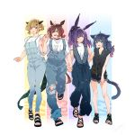 4girls :d animal_ears arknights bangs black_footwear black_hair black_ribbon black_shorts blonde_hair blue_pants blunt_bangs brown_hair casual cat_ears cat_tail catapult_(arknights) character_name collarbone commentary_request denim full_body green_eyes hair_between_eyes hair_ornament hair_ribbon hairclip height_chart high_ponytail highres holding_hands horns horse_ears jessica_(arknights) long_hair looking_at_another looking_at_viewer multiple_girls open_mouth open_toe_shoes overalls pants pointy_ears ponytail purple_hair red_eyes ribbon rope_(arknights) sandals shirt shizuyoshi short_hair shorts sidelocks signature simple_background sleeveless smile tail toes torn_clothes vanilla_(arknights) white_background white_shirt
