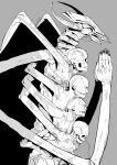 chainsaw_man darkness_devil extra_arms grey_background greyscale hands_clasped hands_together highres horns long_arms looking_to_the_side monochrome monster multiple_heads no_eyes oosawara_sadao own_hands_together simple_background skeleton skull stitched_mouth stitches white_horns