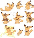 :3 :d ^_^ bow bowtie charamells closed_eyes closed_mouth clothed_pokemon coffee commentary creature cup deerstalker detective_pikachu detective_pikachu_(character) detective_pikachu_(movie) electricity english_commentary facing_viewer full_body gen_1_pokemon happy hat hatted_pokemon holding holding_cup holding_magnifying_glass jumping looking_at_viewer lying no_humans on_back on_stomach open_arms open_mouth pikachu pokemon pokemon_(creature) simple_background sleeping smile white_background