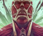 2boys belt bertolt_hoover black_hair boots brown_hair colossal_titan emblem eren_yeager giant jacket long_sleeves moni158 monster multiple_boys muscle paradis_military_uniform shingeki_no_kyojin short_hair size_difference smoke steam steaming_body strap surprised teeth thigh_strap three-dimensional_maneuver_gear titan uniform wall