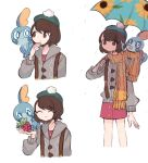 1girl :o ^_^ blue_eyes brown_eyes brown_hair cardigan charamells closed_eyes commentary creature english_commentary flat_chest frown gen_8_pokemon green_headwear on_shoulder pokemon pokemon_(creature) pokemon_(game) pokemon_on_shoulder pokemon_swsh short_hair sobble starter_pokemon yuuri_(pokemon)