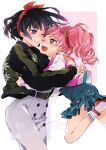2girls :d absurdres animal_print arms_around_waist artist_name bangs belt bishoujo_senshi_sailor_moon black_hair blue_skirt blunt_bangs blush bow buttons casual character_name chibi_usa commentary_request ears face-to-face green_jacket hair_ribbon hairband highres hug jacket jersey long_hair multiple_girls one_eye_closed open_mouth pants pink_hair pink_jacket red_eyes red_footwear red_hairband red_ribbon ribbed_legwear ribbon shizuyoshi short_hair sidelocks skirt smile strappy_heels tomoe_hotaru twintails unicorn upper_body white_background white_jacket white_legwear white_pants