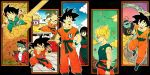2girls 6+boys :d :o age_progression arena arms_at_sides bald bangs baseball_cap black_background black_eyes black_hair blonde_hair blue_eyes blue_hair blue_sky blunt_bangs boots brick_wall brown_shorts building bulma character_name chi-chi_(dragon_ball) china_dress chinese_clothes clenched_hands clenched_teeth clothes_writing clouds cloudy_sky collarbone day dirt_road dougi dragon_ball dragon_ball_(classic) dragon_ball_z dragon_radar dress fighting_stance floating floating_hair flying flying_nimbus from_above from_side frown gradient_sky grass green_sky halo hand_in_pocket hand_up happy hat highres holding jacket kicking kuririn legs_apart looking_afar looking_at_another looking_down looking_up medium_hair messy_hair multiple_boys multiple_girls multiple_persona north_kaiou nyoibo open_clothes open_jacket open_mouth outdoors outline outside_border outstretched_arms palm_tree profile red_jacket road serious shirt shorts sidelocks simple_background sky smile snake_way son_gokuu spiky_hair standing straight_hair sunglasses super_saiyan surprised teeth toritoki_(trig_tkdb) torn_clothes torn_shirt tree upper_teeth wall water white_outline white_shirt wristband