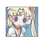 1girl bangs bishoujo_senshi_sailor_moon blonde_hair choker circlet crescent crescent_earrings crescent_moon drooling earrings heart heart_choker highres jewelry kofji_(artist) moon moon_earrings parted_bangs red_choker sailor_collar sailor_moon sailor_moon_redraw_challenge sailor_senshi_uniform solid_oval_eyes solo twintails upper_body