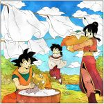 1girl 2boys :d bangs basket black_eyes black_hair blue_sky blunt_bangs boots border bush chi-chi_(dragon_ball) china_dress chinese_clothes closed_mouth clothesline clouds cloudy_sky collarbone day dot_nose dougi dragon_ball dragon_ball_z dress drying drying_clothes family fingernails flying grass hair_bun highres holding holding_basket laundry_basket long_sleeves looking_up mountain multiple_boys nature open_mouth outdoors river rock side_slit sidelocks sitting sky smile soap_bubbles son_gohan son_gokuu spiky_hair teeth toritoki_(trig_tkdb) upper_teeth washing water white_border