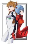 2girls ayanami_rei ayanami_rei_(cosplay) back-to-back blue_eyes blue_hair bodysuit brown_hair commissioner_upload cosplay costume_switch cropped_legs drawfag highres interface_headset looking_at_viewer multicolored multicolored_bodysuit multicolored_clothes multiple_girls neon_genesis_evangelion pilot_suit plugsuit red_bodysuit red_eyes souryuu_asuka_langley souryuu_asuka_langley_(cosplay) two_side_up white_background white_bodysuit