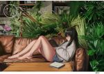 1girl absurdres bangs bare_legs barefoot black_hair blue_shorts book bookshelf closed_mouth commentary_request couch flower grey_sweater hair_between_eyes highres holding holding_book indoors long_hair long_sleeves looking_away on_couch open_book original pink_flower pink_rose profile puffy_long_sleeves puffy_sleeves reclining red_eyes rose short_shorts shorts solo sweater table very_long_hair wang_man