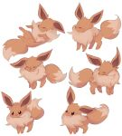 :d ^_^ charamells closed_eyes commentary creature eevee english_commentary facing_viewer full_body gen_1_pokemon happy lying no_humans on_back open_mouth pokemon pokemon_(creature) simple_background smile standing white_background