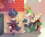 alternate_color building cape card commentary creature english_commentary eye_contact floating gen_5_pokemon gen_6_pokemon looking_at_another no_humans pocket pokemon pokemon_(creature) salanchu serperior shiny_pokemon sylveon yellow_eyes