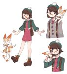 1girl :d ^_^ brown_eyes brown_footwear brown_hair bunny_on_shoulder cardigan charamells closed_eyes commentary creature english_commentary flat_chest frown gen_8_pokemon green_headwear on_shoulder open_mouth pokemon pokemon_(creature) pokemon_(game) pokemon_on_shoulder pokemon_swsh rabbit scorbunny shoelaces shoes short_hair smile starter_pokemon yuuri_(pokemon)