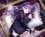 1girl absurdres bangs black_dress blue_eyes blush commentary_request dress eyebrows_visible_through_hair frilled_dress frilled_pillow frills highres juliet_sleeves lolita_fashion long_hair long_sleeves lying on_side original pantyhose petals pillow puffy_sleeves purple_hair solo white_legwear yunmi_0527