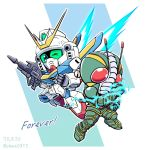 2020 antennae beam_rifle chibi clenched_hands crossover dated electricity energy_gun energy_wings english_text gundam kamen_rider kamen_rider_zo lightning_bolt mecha mechanical_wings one_eye_closed power_armor red_eyes shokkaa_(shmz61312) tokusatsu v2_gundam victory_gundam weapon wings