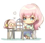 2girls blue_dress blue_eyes blush_stickers chair chibi commentary cup dress headphones holding holding_cup holding_saucer kikuchi_mataha long_hair megurine_luka multiple_girls octopus open_mouth pink_hair ponytail saucer sitting smile solid_oval_eyes symbol_commentary table takoluka tea_party teacup tiered_tray vocaloid white_background