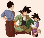 3boys :d ^_^ backlighting beige_background belt black_eyes black_hair black_shirt blue_shirt boots brothers brown_footwear brown_pants chinese_clothes clenched_teeth closed_eyes commentary_request cropped_legs dirty dirty_clothes dirty_face dragon_ball dragon_ball_super dragon_ball_z father_and_son fingernails food full_body grin hands_on_hips hands_on_own_knees happy holding holding_food holding_vegetable indian_style jacket long_sleeves looking_at_another male_focus mamefuku_(mamedehuku) multiple_boys open_clothes open_jacket open_mouth pants profile shaded_face shirt siblings simple_background sitting sleeves_rolled_up smile son_gohan son_gokuu son_goten spiky_hair standing sweat teeth towel towel_around_neck turnip vegetable white_neckwear