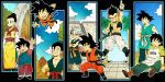 1girl 6+boys :d :o abs age_progression arena arm_support arms_at_sides audience baggy_pants bangs black_background black_eyes black_hair blue_eyes boots brick_wall brothers character_name chi-chi_(dragon_ball) china_dress chinese_clothes clenched_teeth clothes_writing clouds cloudy_sky collarbone crossed_arms day dot_nose dougi dragon_ball dragon_ball_z dress father_and_son fighting_stance fingernails flying forest frown gotenks grey_hair grin hair_bun hand_up hands_on_hips happy highres house index_finger_raised kami's_lookout long_sleeves looking_afar looking_at_another looking_at_viewer looking_to_the_side looking_up metamoran_vest mother_and_son mountain multicolored_hair multiple_boys multiple_persona muscle nature neckerchief open_mouth orange_footwear outdoors outside_border palm_tree pants pectorals profile purple_hair purple_neckwear rock shirt short_sleeves siblings simple_background sitting sky smile son_gohan son_gokuu son_goten spiky_hair stairs standing streaked_hair teeth toritoki_(trig_tkdb) tree trunks_(dragon_ball) two-tone_hair upper_teeth waistcoat wall waving white_pants wristband yellow_footwear