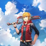 1boy absurdres black_shirt blonde_hair blue_eyes clouds cloudy_sky day highres male_focus monado monolith_soft monster_games nintendo open_clothes open_vest outdoors poteto_(potetosarada123) red_vest shirt shulk sky solo super_smash_bros. vest xenoblade_(series) xenoblade_1 xenoblade_1:_tsunagaru_mirai xenoblade_chronicles