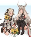 2girls :d :q arknights ass bangs bare_shoulders black_legwear blonde_hair blush breasts detached_sleeves flower grey_hair highres horns ifrit_(arknights) jacket kneehighs kurisustinah long_hair matoimaru_(arknights) multiple_girls open_mouth open_toe_shoes orange_eyes orange_nails parted_bangs plant pointy_ears potted_plant red_eyes sitting smile sunflower tail teeth thigh-highs tongue tongue_out very_long_hair