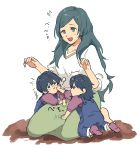1boy 2girls alternate_costume blue_eyes blue_hair byleth_(fire_emblem) byleth_(fire_emblem)_(female) byleth_(fire_emblem)_(male) closed_mouth fire_emblem fire_emblem:_three_houses highres long_hair mother_and_daughter mother_and_son multiple_girls open_mouth overalls short_hair short_sleeves simple_background sitri_(fire_emblem) sitting souen_senri white_background younger