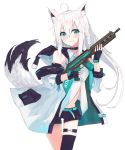 1girl animal_ear_fluff animal_ears black_gloves black_legwear blush choker coat fingerless_gloves fox_ears fox_girl fox_tail gloves green_eyes gun highres hinata_(hinata-ur) holding holding_gun holding_weapon hololive long_hair navel shirakami_fubuki shorts single_thighhigh smile solo tail thigh-highs virtual_youtuber weapon white_coat white_hair