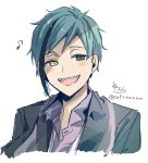 1boy :d bangs black_hair black_jacket blue_hair blush_stickers brown_eyes collared_shirt copyright_request cropped_torso eighth_note heterochromia highres jacket male_focus multicolored_hair musical_note open_clothes open_jacket open_mouth purple_shirt sharp_teeth shirt signature simple_background smile sofra solo streaked_hair teeth twitter_username upper_body white_background yellow_eyes