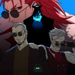 4boys adjusting_eyewear arm_around_shoulder armor bangs beard black_cloak black_eyes cloak facial_hair facial_mark fate/extra fate/grand_order fate_(series) glasses gloves glowing glowing_eyes gradient_hair grey_hair haori horns james_moriarty_(fate/grand_order) japanese_clothes k_(chissaiossan) kimono king_hassan_(fate/grand_order) li_shuwen_(fate) li_shuwen_(fate/grand_order) long_hair long_sleeves looking_at_viewer looking_back male_focus multicolored_hair multiple_boys mustache necktie old_man ponytail redhead simple_background skull smile sunglasses upper_body wrinkles yagyuu_munenori_(fate/grand_order)
