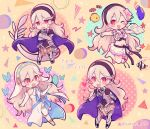 4girls armor barefoot bikini black_hairband blue_cape book bug butterfly cape character_name chibi corrin_(fire_emblem) corrin_(fire_emblem)_(female) crossed_arms dragon_tail dress fire_emblem fire_emblem_fates fire_emblem_heroes fish flower hair_flower hair_ornament hairband holding holding_book insect long_hair multiple_girls one_eye_closed open_book open_mouth pointy_ears red_eyes swimsuit tail twitter_username veil white_dress white_hair yataba_888