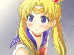 1girl bishoujo_senshi_sailor_moon blonde_hair blue_eyes blush bow choker collarbone commentary_request crescent crescent_earrings crescent_moon derivative_work earrings eyebrows_visible_through_hair hair_between_eyes hair_ornament jewelry long_hair looking_at_viewer moon open_mouth porurin red_bow red_choker sailor_collar sailor_moon sailor_moon_redraw_challenge short_sleeves solo tiara tsukino_usagi twintails